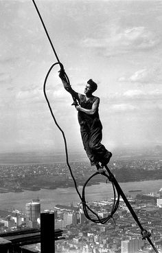 "Lewis Hine, ""Icarus Atop Empire State Building"""
