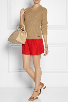 Burberry London | Chunky-knit cashmere sweater | Giambattista Valli | Pleated woven shorts | Maiyet | Metallic-paneles leather sandals | Jil Sander | J medium leather bowling bag