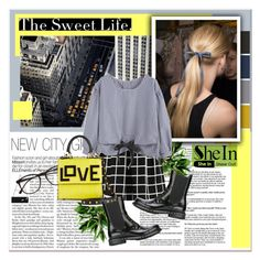 """Shein - Checkered"" by stylemeup-649 ❤ liked on Polyvore featuring Illesteva, Les Petits Joueurs, Dolce&Gabbana, yellow, Checkered and fashionset"