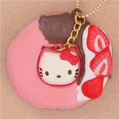 pink Hello Kitty donut brown icing strawberry squishy charm for cellphone bag 1