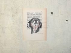 postcard with dog on old page of book - printed postcard for pet lovers by vumap on Etsy