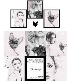 """kitsu9tails:  ♦⁴ Fashion Black + White, Art Paintings Note: ♥ 5 different paintings all in one package.  ♥ Frame is """"deep black""""  Please do not claim as you own or re-upload.DOWNLOAD (adfly/mediafire)"""