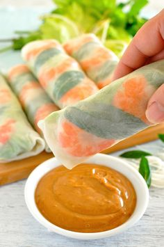 Vietnamese Rice Paper Rolls - tips to make rolling these up a breeze! The peanut dipping sauce is off-the-charts-fabulous.