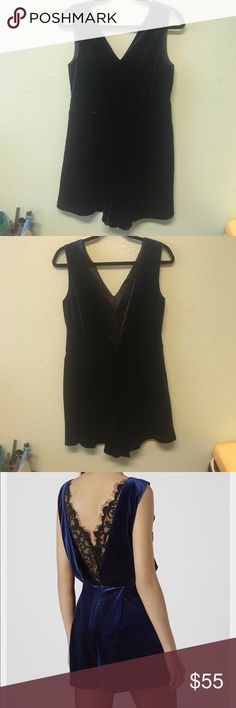 Blue, velvet romper with black lace back detail Worn once, dark blue valves romper with lace back detail Topshop Other