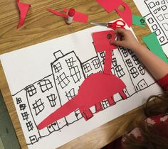 Dinosaur art project for K. If the dinosaurs came back