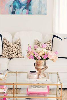 Spring decor. leopard pillows, pillow with black border, vintage silver ice bucket