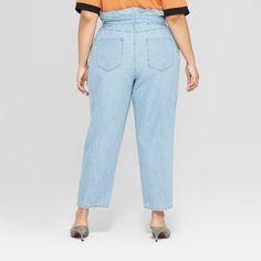 469a4ba5d60 Women s Plus Size Mid-Rise Light Wash Paperbag Denim Pants - Who What Wear  Blue 14W