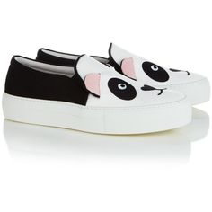 Joshua Sanders White Panda Slip-On Sneakers (1.105.880 COP) ❤ liked on Polyvore featuring shoes, sneakers, vans, white, platform shoes, white sneakers, white slip on shoes, leather sneakers and white shoes