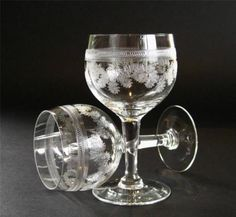 Pair-of-vintage-Dessert-Wine-Sherry-glasses-delicate-etched-pattern