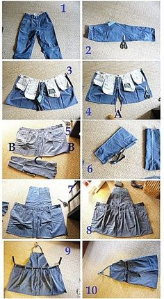 super pr recycler les vieux jeans en un super tablier ♥♥♥ Recycled jean From jeans to gardening apron: - Transformer un vieux pantalon en tablier de… Recycle jeans into an apron. Plenty of pockets, hard wearing - and I happen to have two pairs of Artisanats Denim, Jean Diy, Jean Apron, Estilo Hippie, Denim Ideas, Denim Crafts, Upcycled Crafts, Sewing Aprons, Sewing Clothes