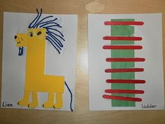 Craft Alphabet Book, Capital L for Lion and lower case l for ladder. Alphabet Letter Crafts, Abc Crafts, Preschool Letters, Alphabet Book, Animal Alphabet, Alphabet Activities, Alphabet And Numbers, Preschool Crafts, Kids Letters