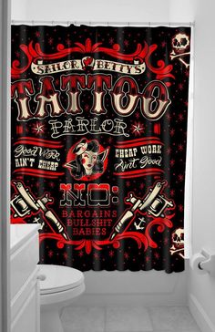 Here at Sailor Betty's Tattoo Parlor there are No bargains, bullshit or babies! If you're okay with that then check this out! This black polyester shower curtain has a vintage inspired tattoo sign of