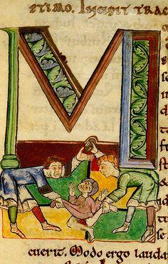 """""""M"""". Stoning a man. Utrecht Psalter.befire 1223. England"""