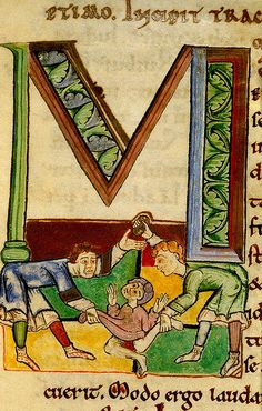 """M"". Stoning a man. Utrecht Psalter.befire 1223. England Royal 5D BL by tony harrison, via Flickr"