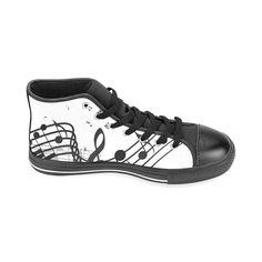 Music Men's Classic High Top Canvas Shoes /Large Size (Model 017)