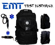EMT EMS Backpack with Star of Life / EMT Insignias +  Key Chain & I.D./Badge Neck Lanyard First Responder Emergency Services Rescue Pack