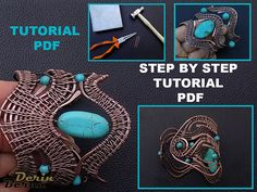 Wire wrapping bracelet tutorial,jewelry tutorial,PDF lesson pattern,bracelet tutorial,cuff tutorial,wire wrapping tutorials,beading tutorial