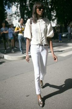 If you aren't quite ready to pair bright white denim with an equally stark top, try mixing in creams and metallics instead. It still makes a statement, but in a softer, more feminine way.