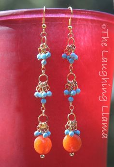 Gold Turquoise Coral Dangle Earrings by TheLaughingLlama on Etsy, $20.00 #Etsy #Earrings