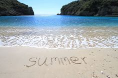 Picture of Summer written on sandy beach stock photo, images and stock photography.