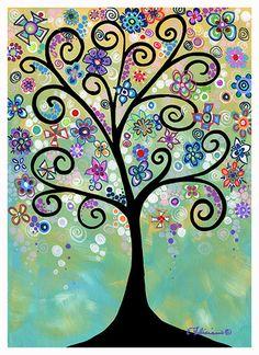 20 x 30 Fine Art Print Whimsical Tree Art by NYoriginalpaintings