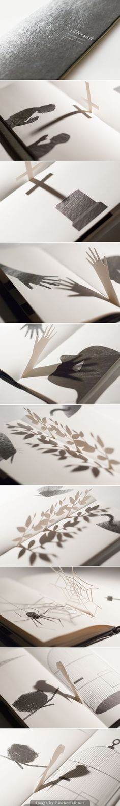 An interactive Japanese book by Megumi Kajiwara and Tathuhiko Nijima that includes pop-up silhouettes in-between pages http://silhouette-about.tumblr.com