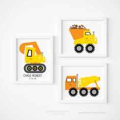 Construction Art Prints Boys Room Decor for Baby by PitterPatterPrint uses your Baby's Actual Footprints. Click through to see other color combos & how it works.