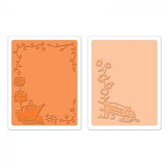 Sizzix Textured Impressions Embossing Folders 2PK - Wheelbarrow & Watering Can Set
