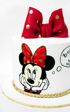 Ideas For Birthday Cake Simple Girl Minnie Mouse Minnie Mouse Birthday Theme, Mickey And Minnie Cake, Bolo Mickey, 4th Birthday Cakes, Minnie Mouse Cake, Cake Designs For Girl, Fondant Cake Designs, Friends Cake, Character Cakes