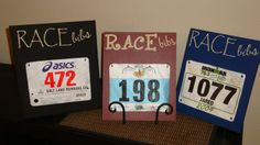 Race bib holder idea- hang hooks off bottom to hang medals on and then mount to wall