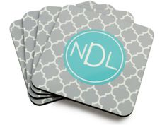 Cork-backed Coaster Set - Shown in Gray Moroccan inspired quatrefoil print - Personalize with a monogram or family name  by TheMonogramLine on Etsy https://www.etsy.com/listing/209706790/cork-backed-coaster-set-shown-in-gray
