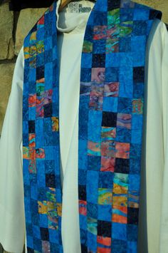 Blue Advent Stoles for Clergy Pieced and Quilted. $350.00, via Etsy.