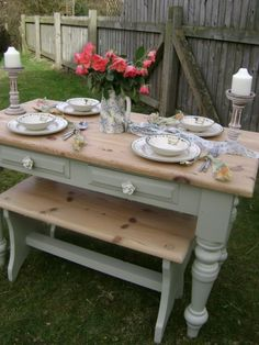 Farmhouse Pine Dining Set painted in Farrow & Ball 'French Gray' Shabby Chic Dinning Table, Pine Dining Table, Dining Room Table, Dining Set, English Cottage Kitchens, Annie Sloan Furniture, Dining Table Makeover, Small Dining, Colorful Furniture