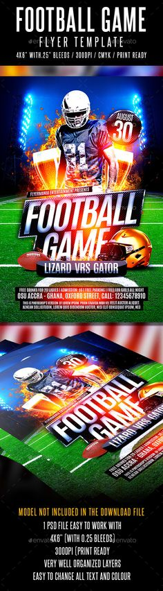 Football Game Flyer Template #design Download: http://graphicriver.net/item/football-game-flyer-template/12423861?ref=ksioks