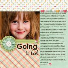 """Going to Bed"" by TrickyNag, as seen in the Club CK Idea Galleries. #scrapbook #scrapbooking #creatingkeepsakes"