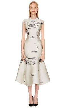 Ivory Fitted Flounce Dress by Vika Gazinskaya Now Available on Moda Operandi