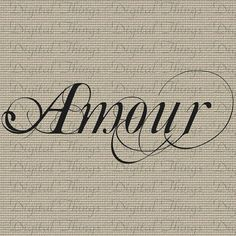 Amour French Love Valentines Quote Typography by DigitalThings, $1.00