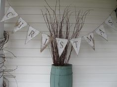 MERRY CHRISTMAS Painted Burlap Banner, Rustic style