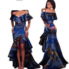 African Style Long Dress For Women Cotton Print Kitenge Ankara Sexy Slash Neck #womensfashiondresses2018