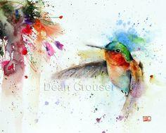 HUMMINGBIRD & FUSCHIA Watercolor Print by Dean by DeanCrouserArt