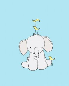 Elephant Nursery Art Print Nursery Decor by SweetMelodyDesigns, $15.00 Elephant Nursery Art, Elephant Love, Art Wall Kids, Art For Kids, Image Deco, Cute Cartoon Animals, Baby Art, Cute Drawings, Cute Art