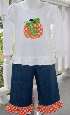 Girls Fall Pumpkin Applique Outfit with Initial. Denim Ruffle Pants and Ruffle Shirt. $44.00