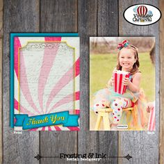 Carnival Party - Circus Party - Photo Thank You Notes & Wrap Around Address Labels - Pink Blue Yellow - Printable (Girl, Vintage, Big Top) on Etsy, $18.00