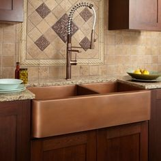"39"" Tamba 60/40 Offset Double-Bowl Copper Farmhouse Sink ~~~~~ would it work better with light or dark counters and cabinets?"