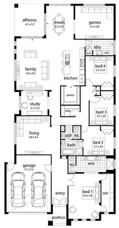 Floor Plan Idea. I definitely don't need anything this big but I like the bed 2 with semi ensuite/powder room layout. Would be a good guest room wing.