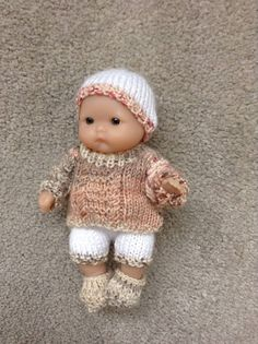 Hand knitted dolls clothes for 5 Berenguer Itty Bitty