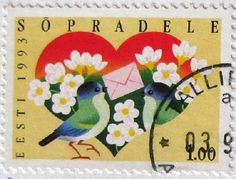 Postage stamp ~ bird with letter