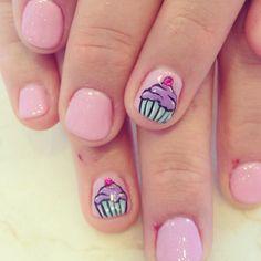 Cupcake nail art for birthdays