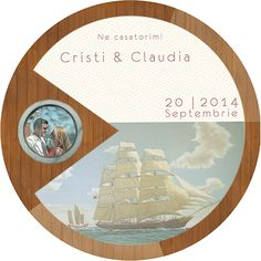 Circular wedding invitation Marine theme