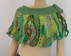 Green Freeform Crochet  Textured Shawl - Capelet - Skirt / Fiber Art / OOAK